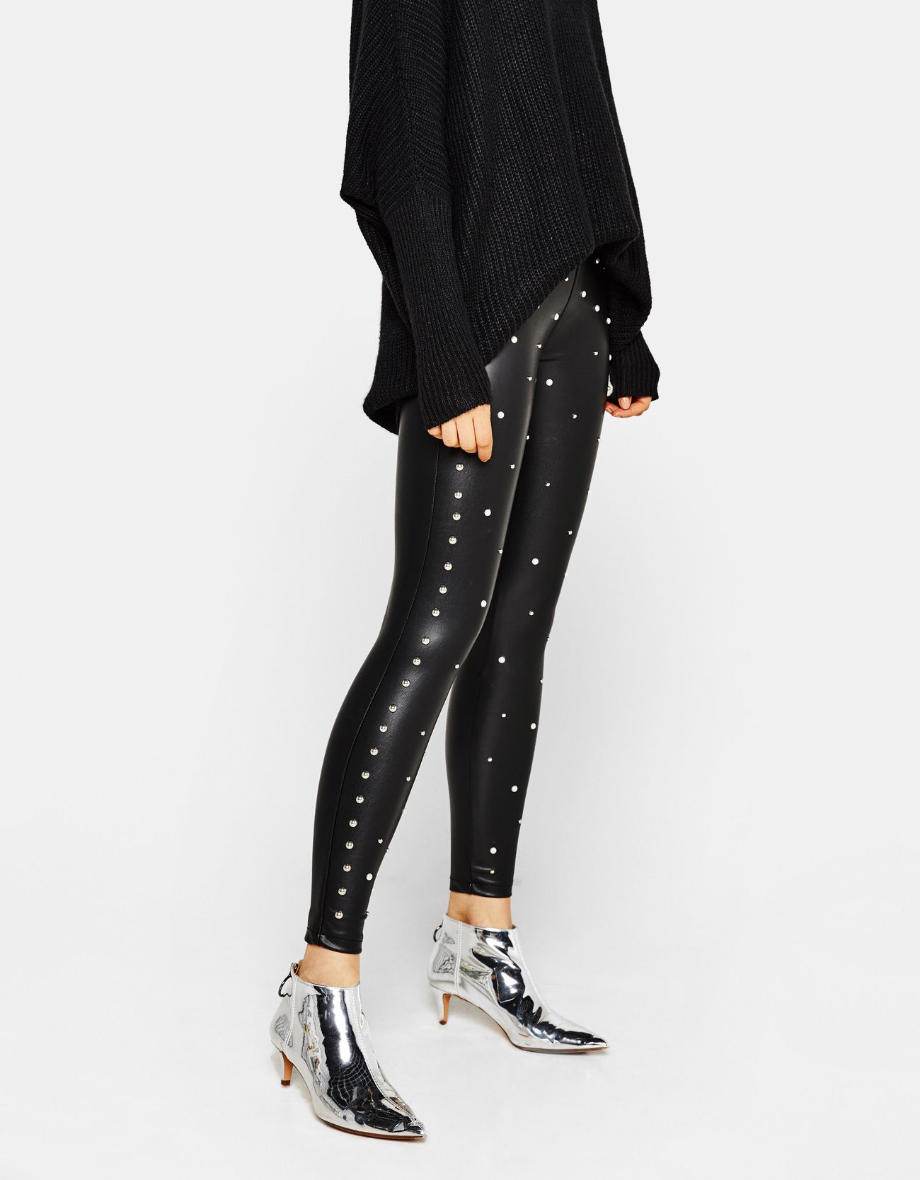 1e6b9dcfde96dd Faux leather pants with pearl beads. Discover this and many more items in  Bershka with new products every week