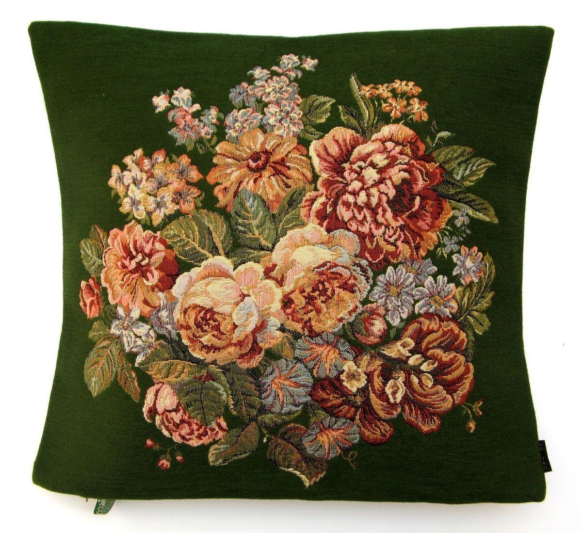 Bouquet Blumen Gruen Gobelin Kissen Kissenbezug 46x46 Kissenhuelle