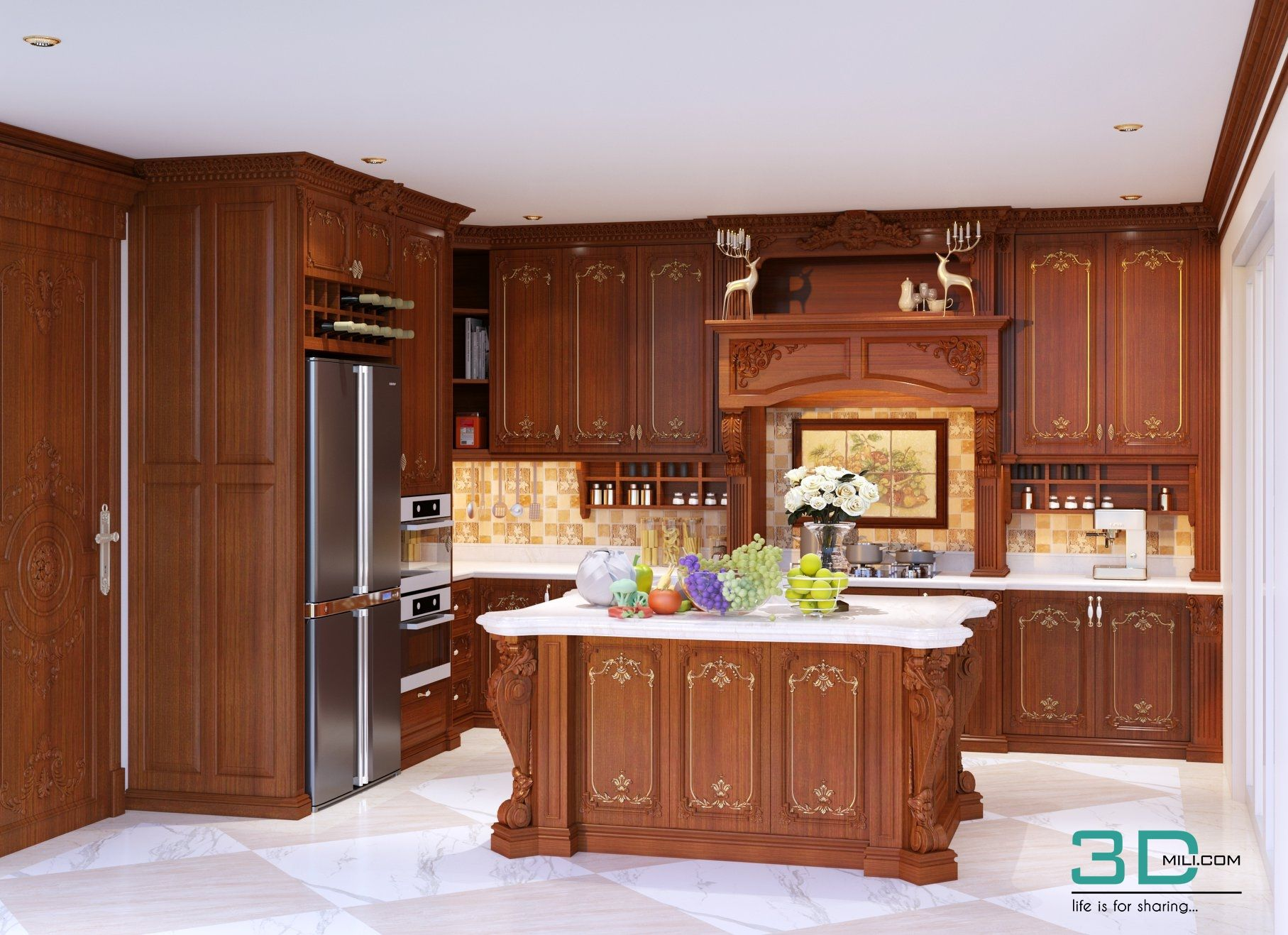 Classic kitchen 3d models and textures free download