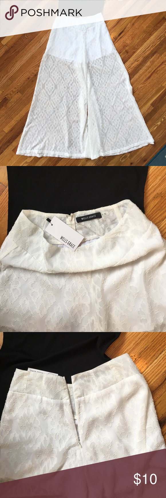 High waist wide leg pants White high waist pants with back zipper closure. New with tags. Pants Wide Leg