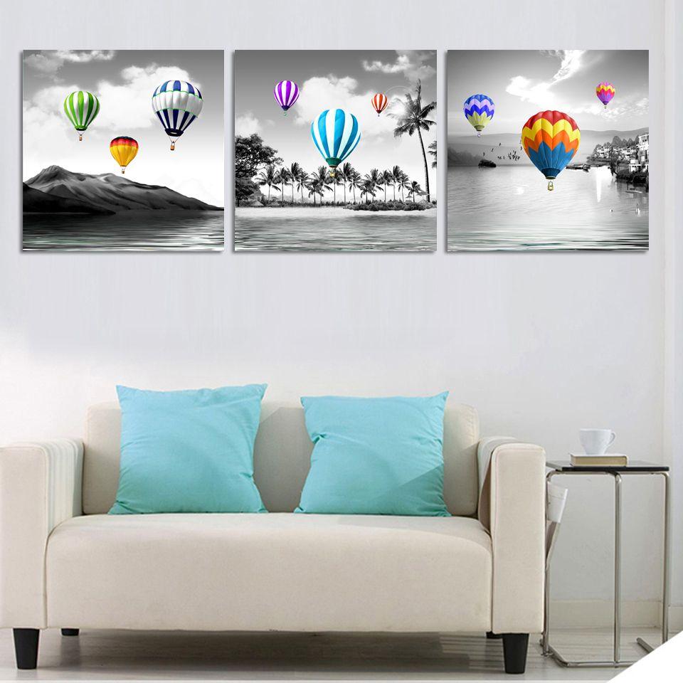 Unframed Seascape und Farbe Ballon Leinwand Modularen Bilder Kunst ...