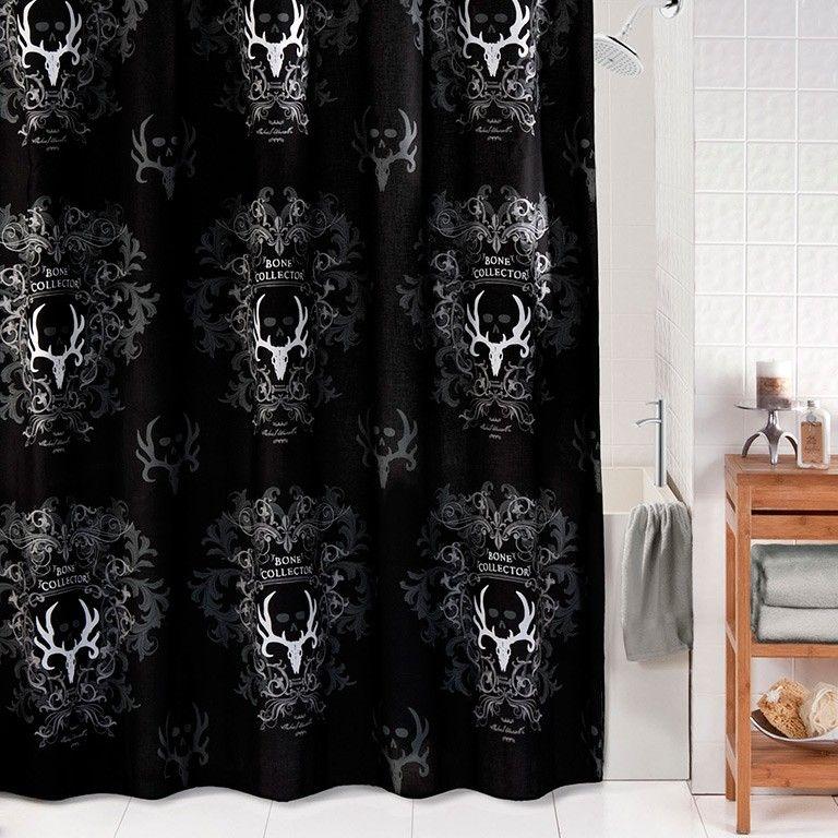 Bone Collector Black Shower Curtain Black Shower Curtains Black