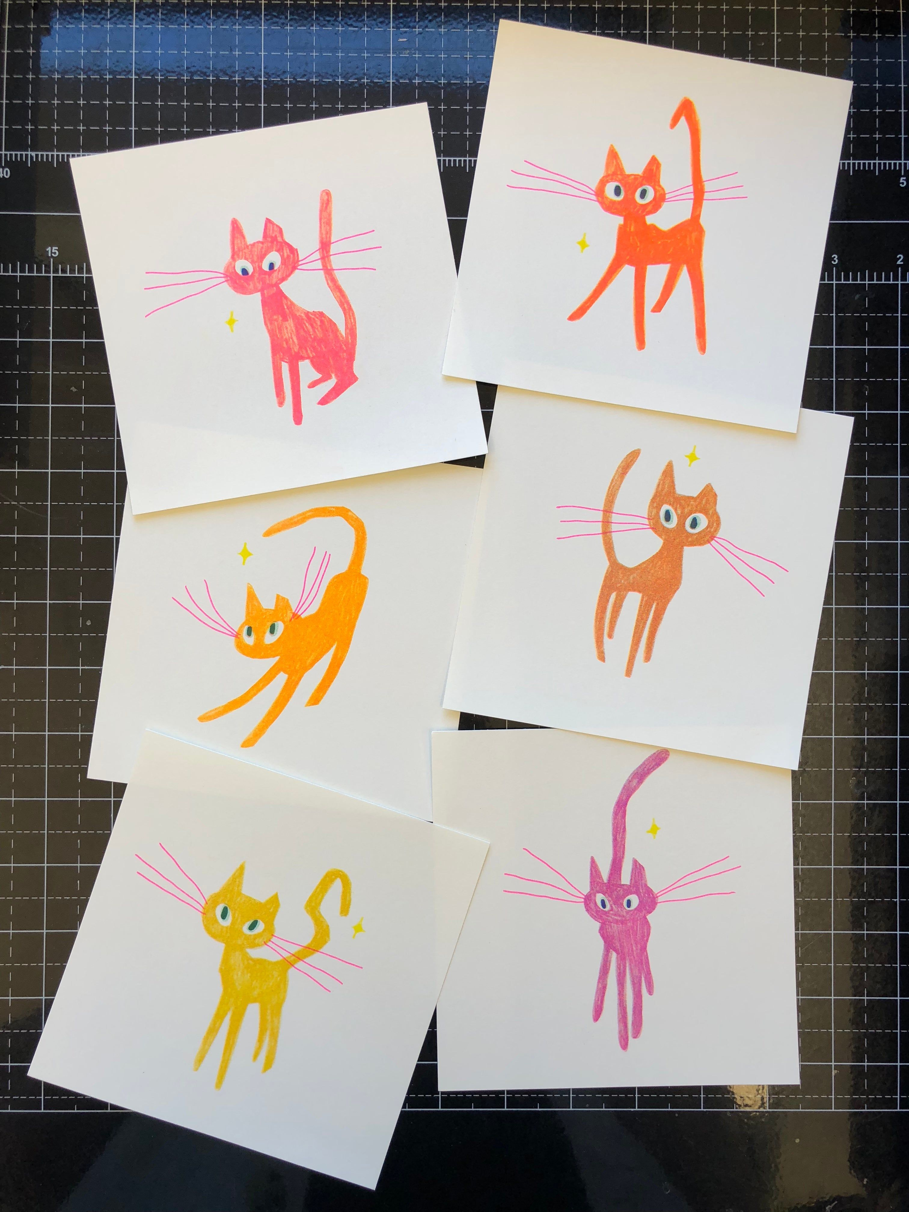 Pink Cat 11x17 Poster Risograph Print 11x17 Poster Pink Cat