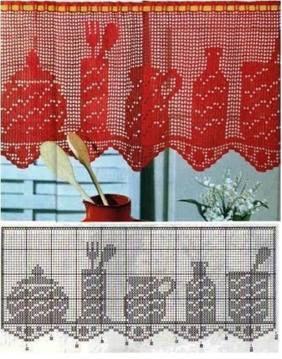 Gardine Küchengefäße Häkeln Crochet Crochetégardinen Und
