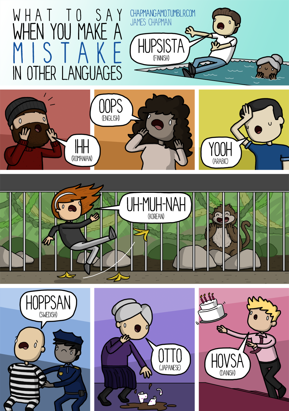 PICTURES BY JAMES CHAPMAN • Oops in other languages! Some