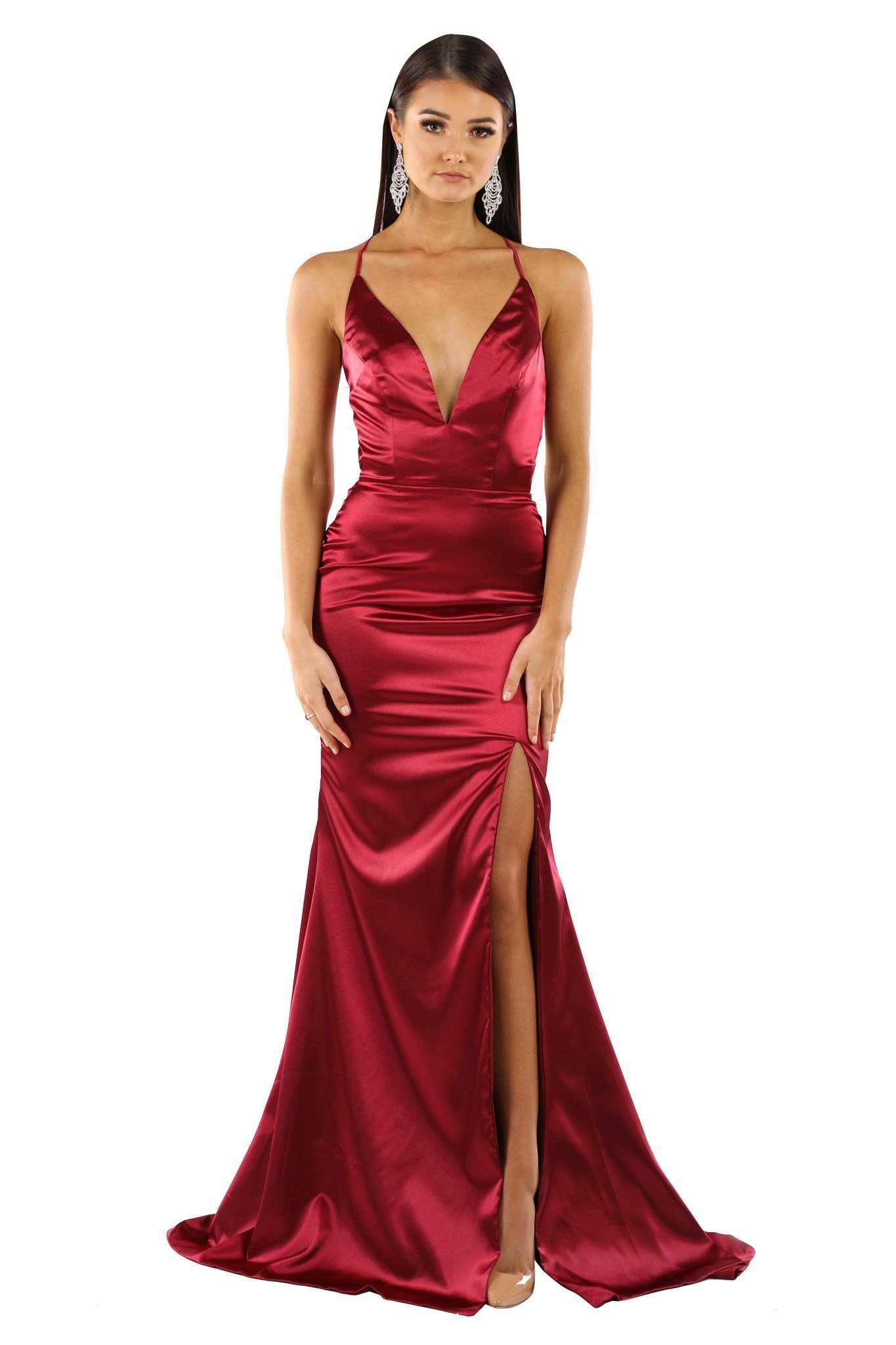 40e67dcc533f ELECTRA Lace Up Back Front Slit Satin Gown - Deep Red | Formal ...