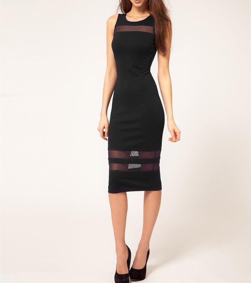 Sexy women pencil dress seethrough mesh stripes backless bodycon