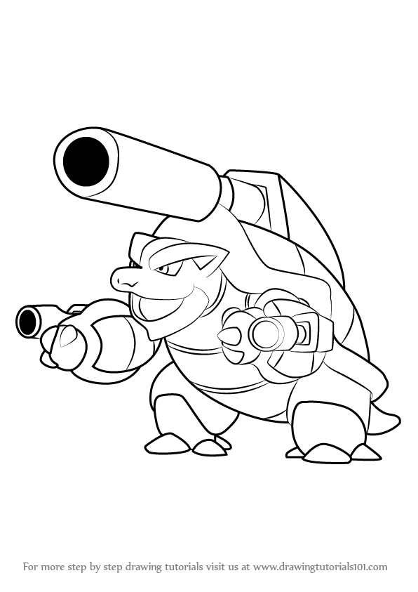 How To Draw Mega Blastoise From Pokemon Drawingtutorials101 Com Pokemon Coloring Pages Pokemon Coloring Pokemon