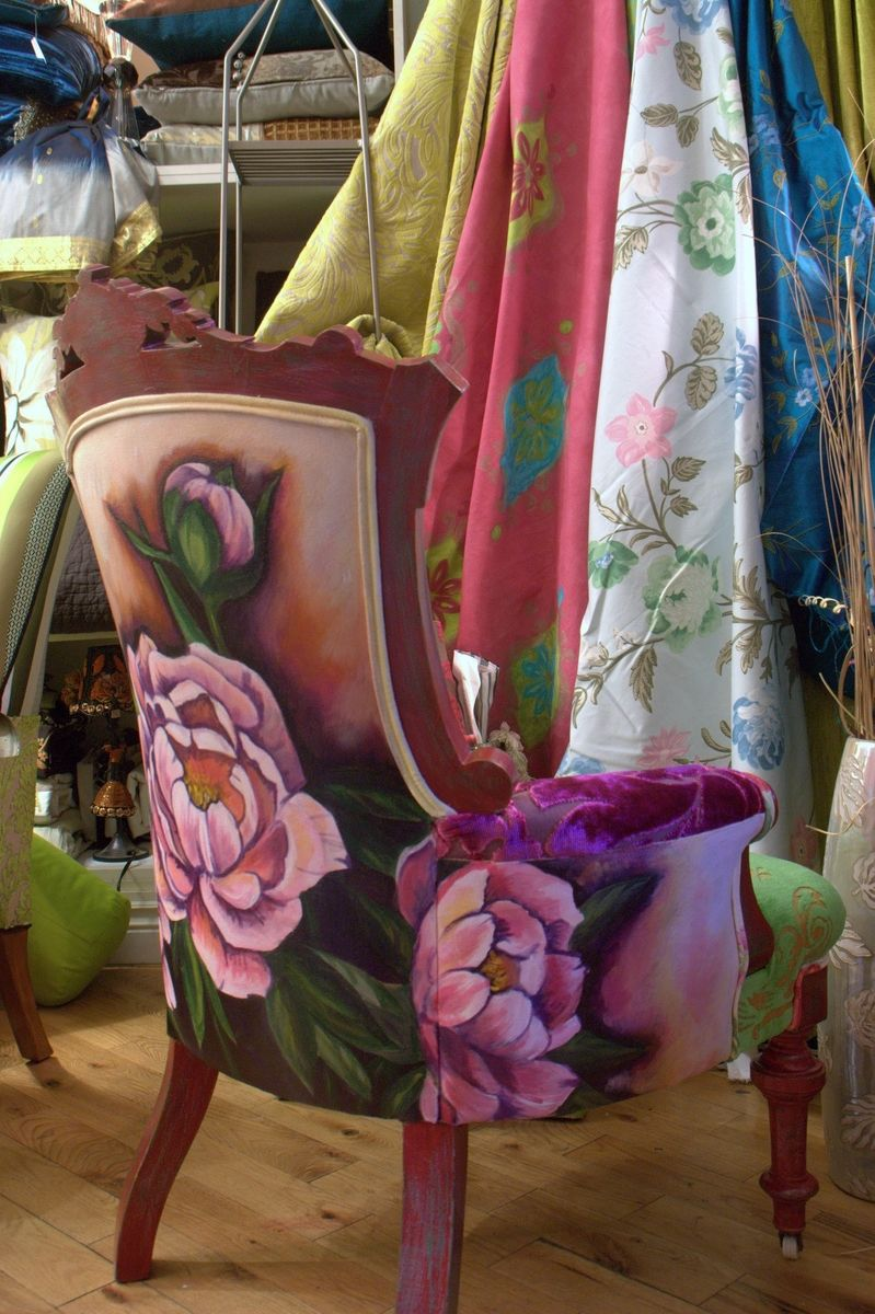 Hand painted and upholstered antique Eastlake chair with painted and  distressed finish by Jane Hall The - Hand Painted And Upholstered Antique Eastlake Chair With Painted And