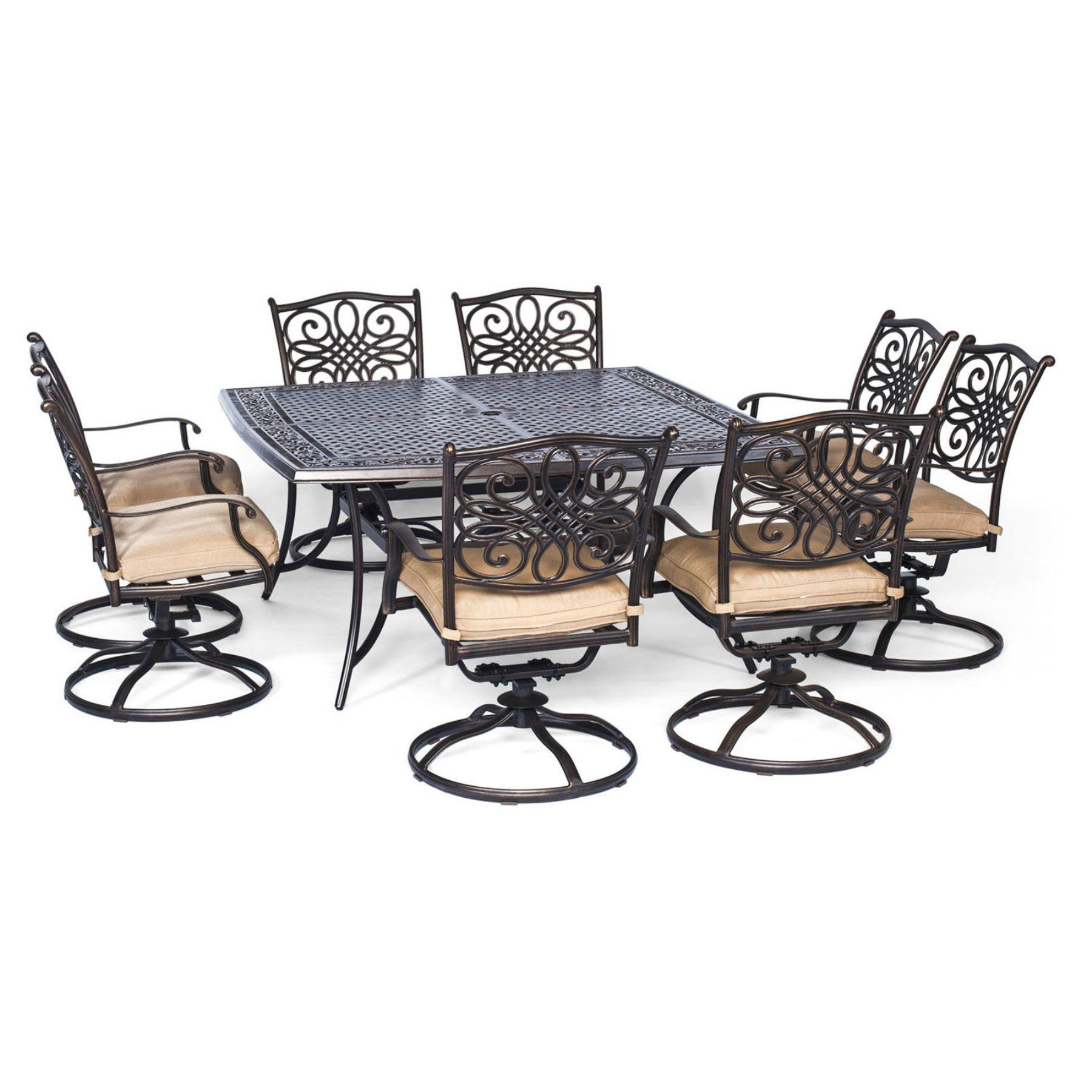 Outdoor hanover traditions aluminum 9 piece square patio dining set traddn9pcsq