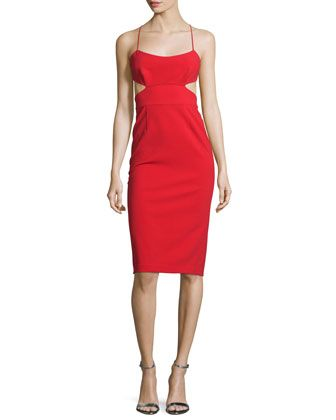 Sleeveless Cutout Stretch Crepe Cocktail Dress, Apple Red by Jill Jill Stuart at Neiman Marcus.