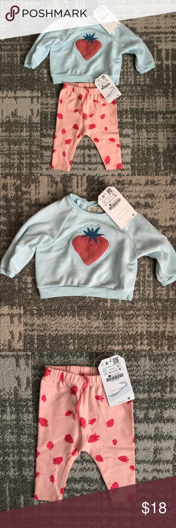 Nwt zara strawberry sweatshirt and leggings set nwt pinterest