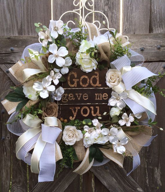 Wedding Decoration Everyday Wreath Burlap Wreath By BaBamWreaths, $139.00. Front  Door ...