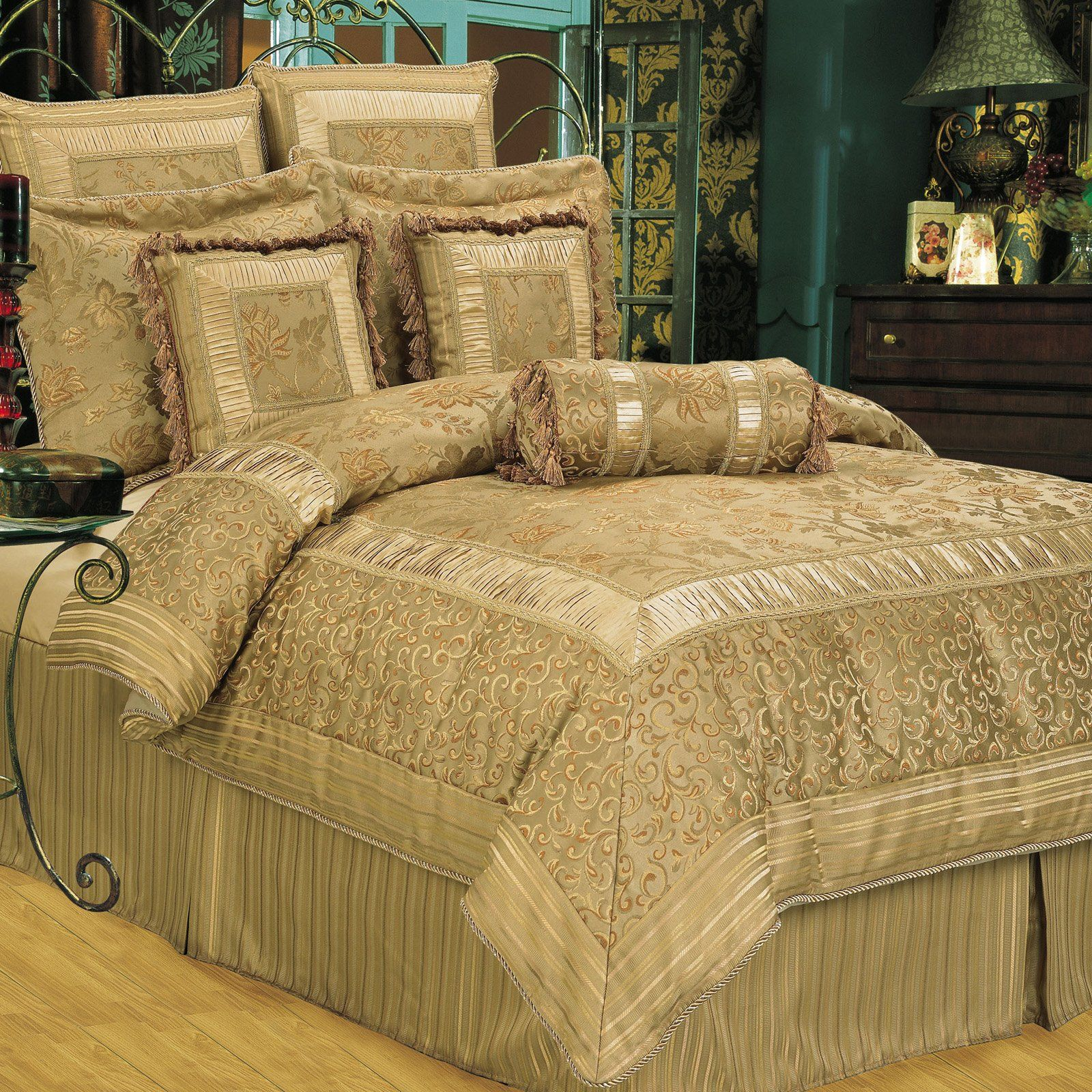 Have to have it. kathy ireland Home by Hallmart Collectibles Golden Scrolls Comforter Set - $296.98 @hayneedle.com