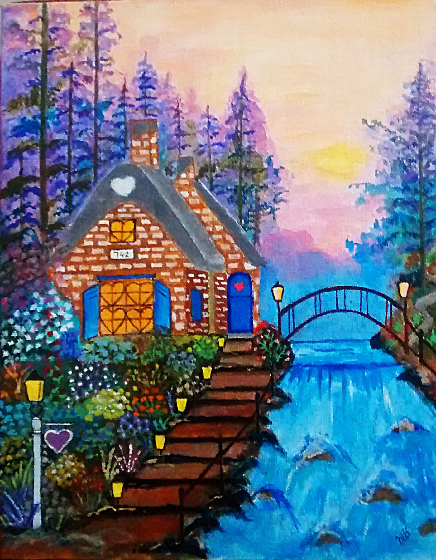 cottage acrylic painting on canvas scenery and