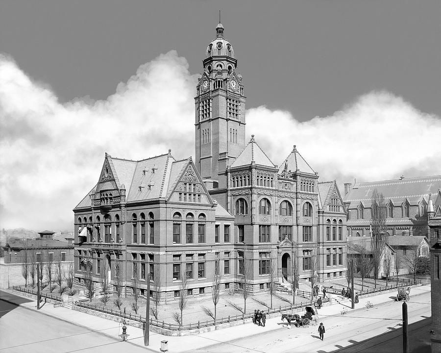 Old jefferson county courthouse birmingham alabama restored vintage black and white photograph