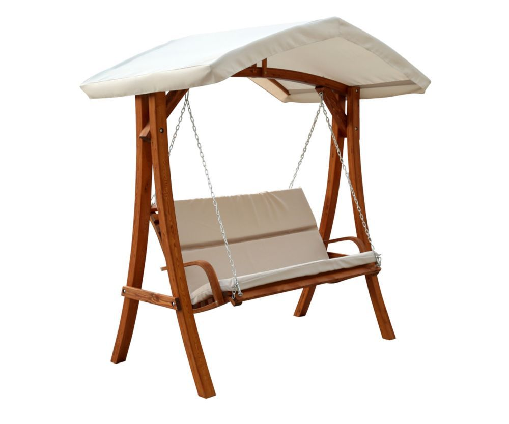 Leisure Season Wooden Patio Swing Seater With Canopy At The Home Depot Mobile
