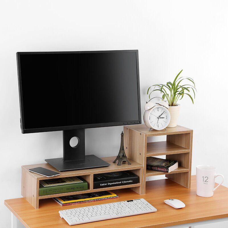 Ebern Designs Wooden Monitor Stand Computer Laptop Monitor Riser Stand Desktop Storage Organizer 3 Layer Shelf Black White Light Walnut In 2020 Monitor Riser Computer Riser Computer Stand