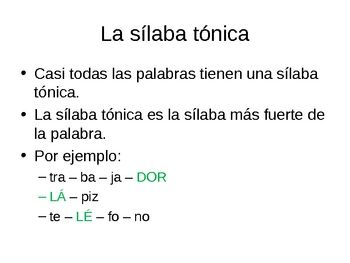 Powerpoint La Silaba Tonica Finding The Stressed Syllable Syllable Guided Practice Words