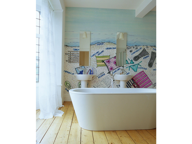 Carta da parati con scritte per bagno per bambini sand tips collezione wet system 14 by wall - Carta da parati lavabile per bagno ...