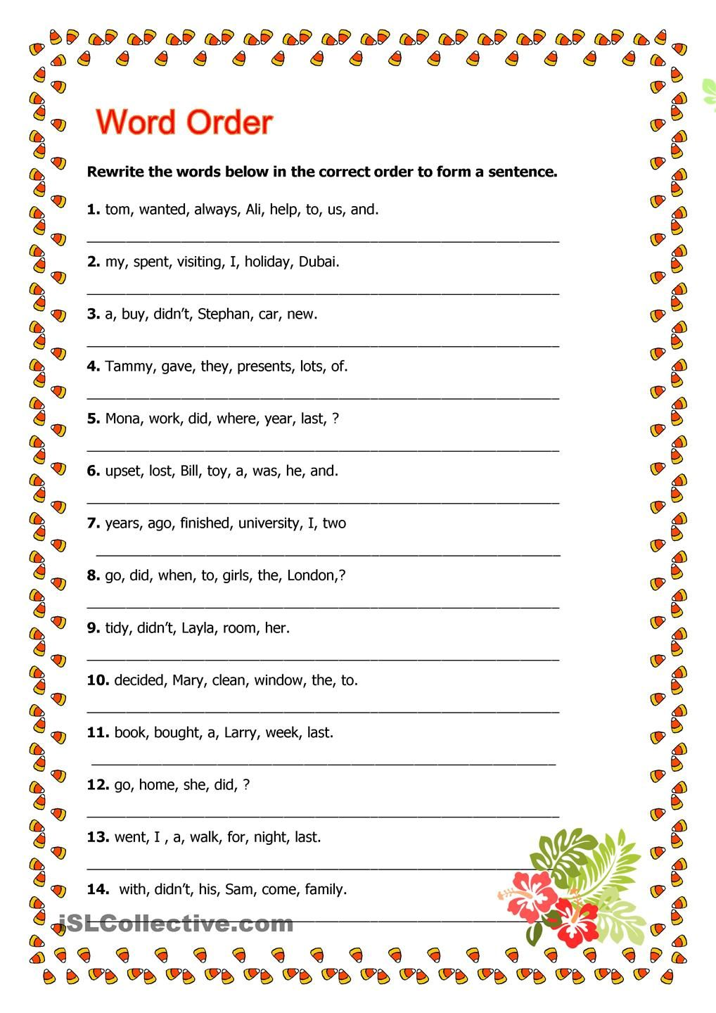 word order | inglés | Pinterest | Word order, English and English ...