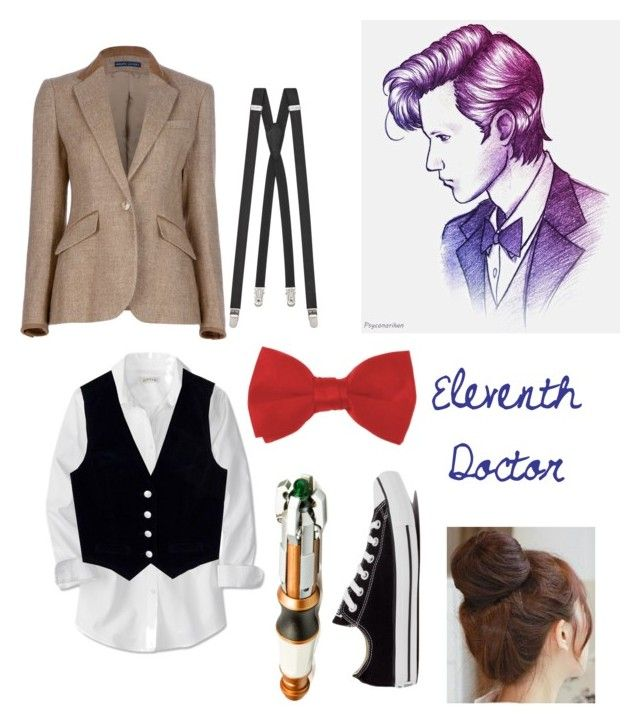 """""""Eleventh Doctor"""" by pxnkrxckgxrl ❤ liked on Polyvore featuring Ralph Lauren Blue Label, AG Adriano Goldschmied, Yves Saint Laurent, Converse and Pin Show"""