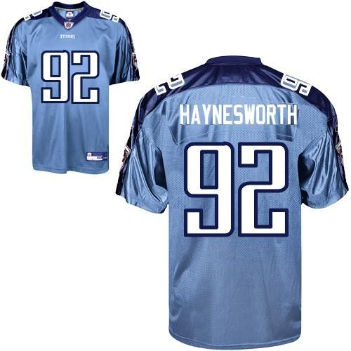 NFL Tennessee Titans #92 Albert Haynesworth Authentic Light Blue Men Jersey