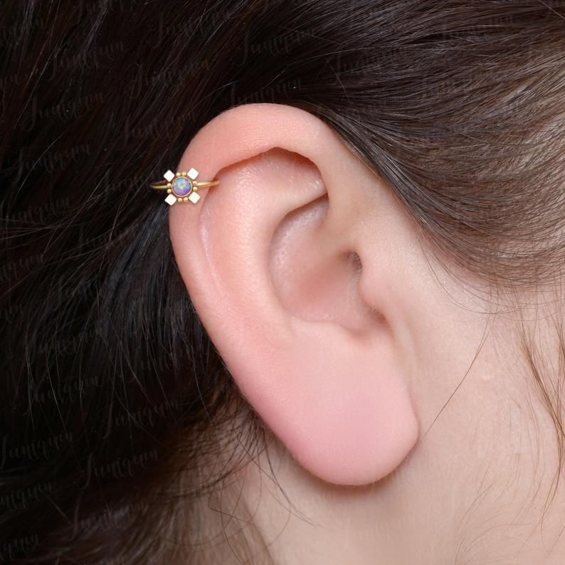 Rook Clicker Cartilage Hoop Earring Opal Tragus Hoop 18g 16g Clicker Hoop Titanium Conch Piercing Forward Helix Ring Tragus Ring