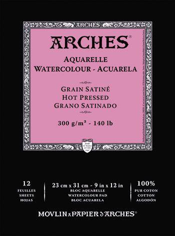 Arches Aquarelle Gummed Watercolour Pad 23x31cm Hot Press 12s