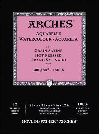 Arches Aquarelle Gummed Watercolour Pad 23x31cm Hot Press 12s