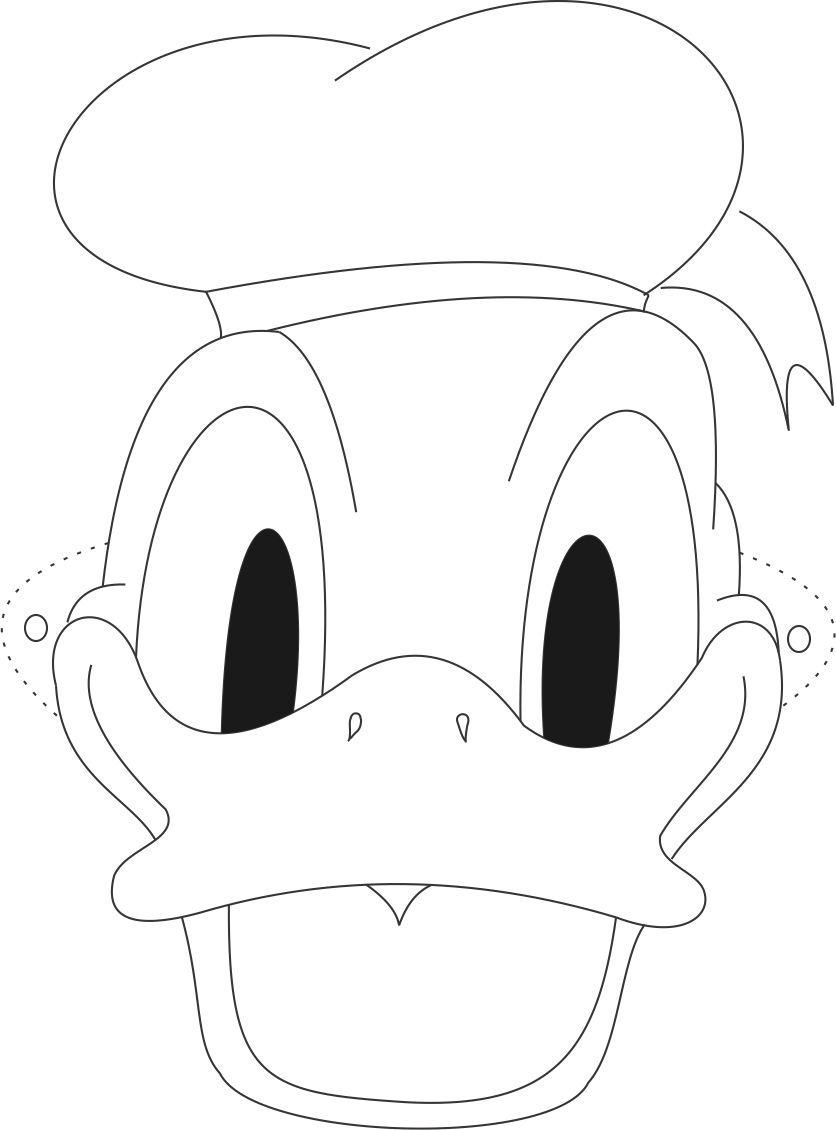Donald Mask Printable Coloring Page For Kids