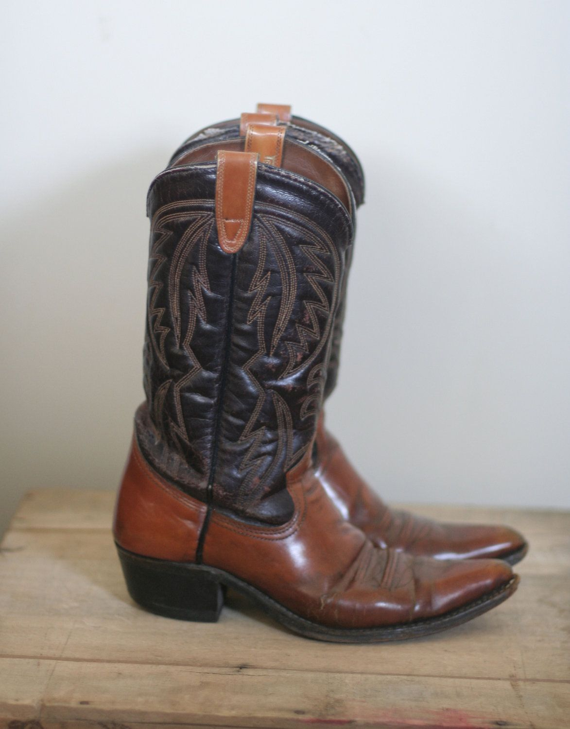 Vintage Mens Cowboy Boots Texas Brand Boots Shoe Boots