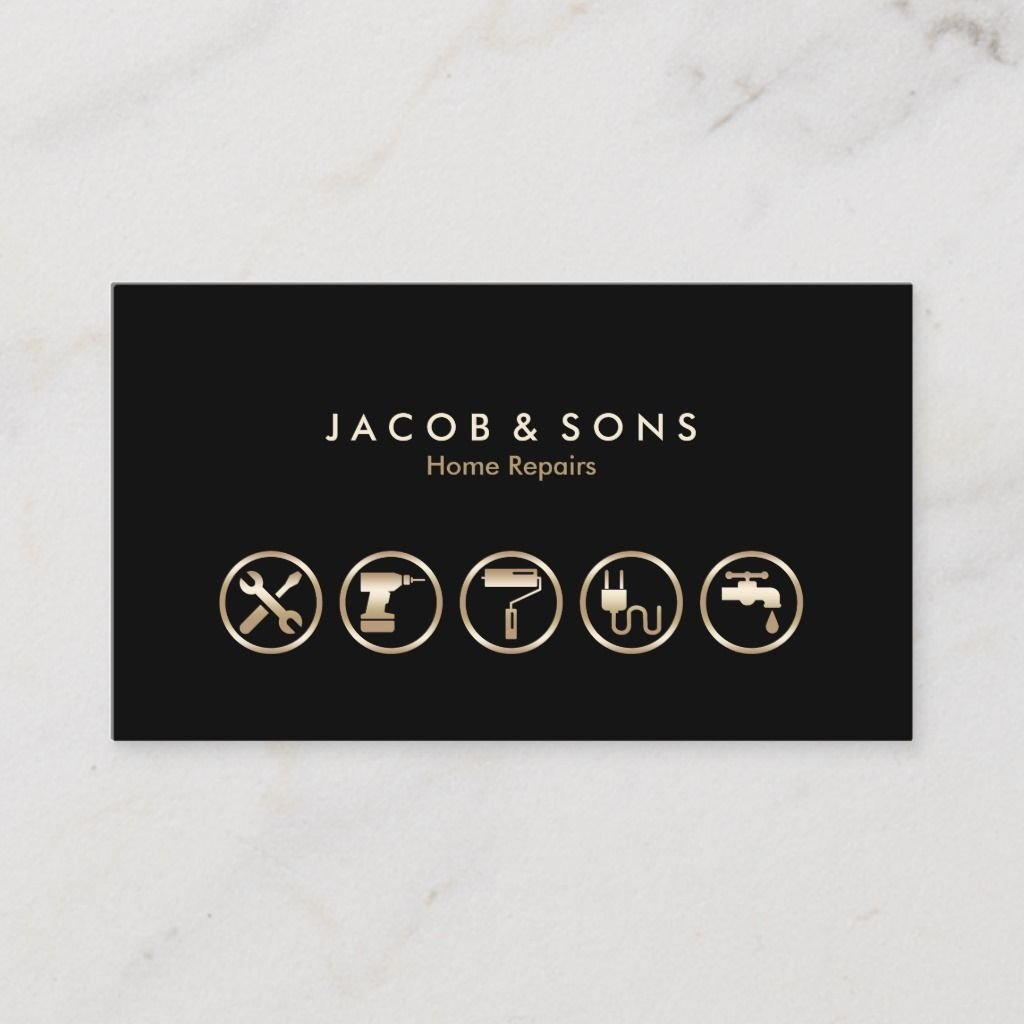 Home Repairs Gold Icons Business Card Zazzle Com In 2020 Home Repairs Remodeling Business Cards
