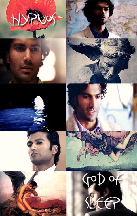 """GREEK MYTHOLOGY MEME ® MINOR DEITIES & TITANS 4/30 """" ∟Sendhil Ramamurthy as H Y P N O S The god of sleep, Hypnos' mother was Nyx, the deity of night, and his father Erebus, the deity of darkness. Hypnos lived next to his twin brother Thanatos (Death)..."""