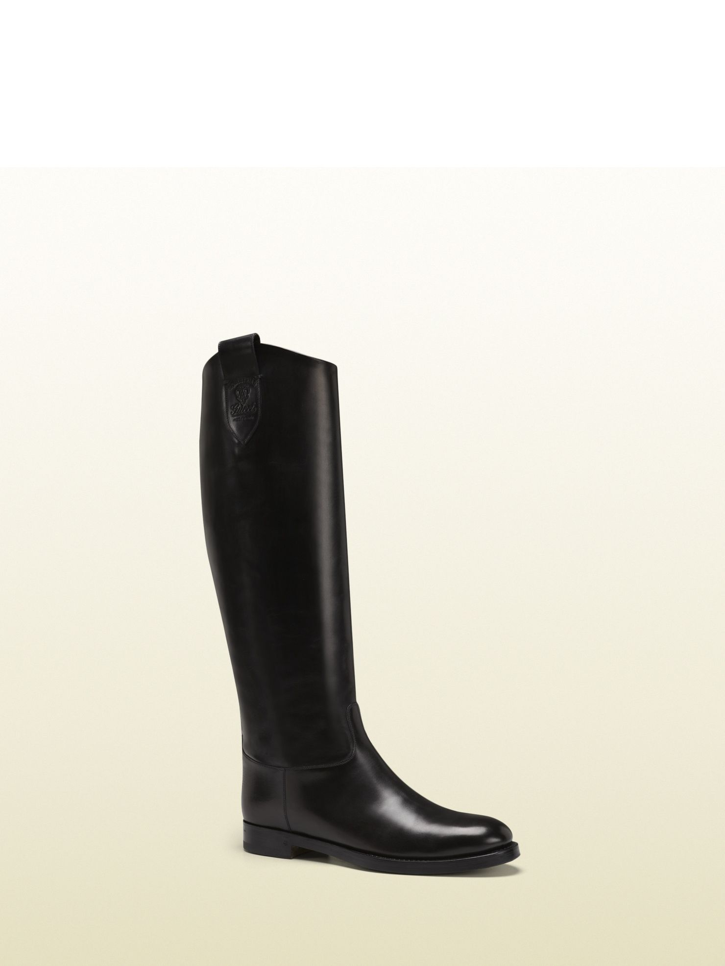 852208452 Gucci - 312473 BLM00 1000 - leather riding boot with gucci crest from  equestrian collection - black leather gucci crest detail *Made in Italy .6