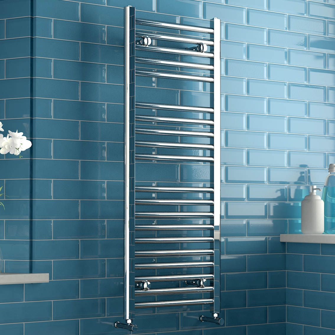 Natasha ladder rail straight modern electric towel radiator in chrome - Natasha Straight Ladder Rail Contemporary Electric Towel Radiator In Chrome 1200mm X 450mm