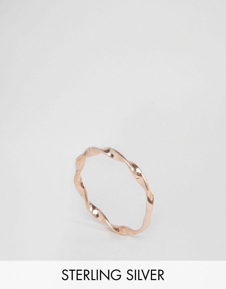 il migliore prezzo ragionevole prezzo economico Anello ritorto sottile in argento sterling placcato oro rosa in ...