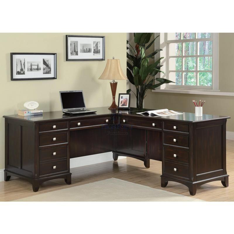 coaster shape home office computer desk. Modren Desk Home Office LShape Pedestal Desk In Rich Cappuccino Finish Intended Coaster Shape Computer O