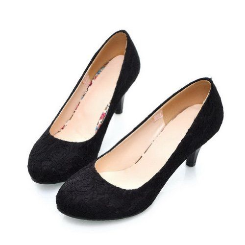 Vogue009 Womens Closed Round Toe Kitten Heel Frosted Suede Pu Solid Pumps Black 43 Vogue009 Http Www Amazon Com Dp B00j Kitten Heel Shoes Fancy Shoes Heels