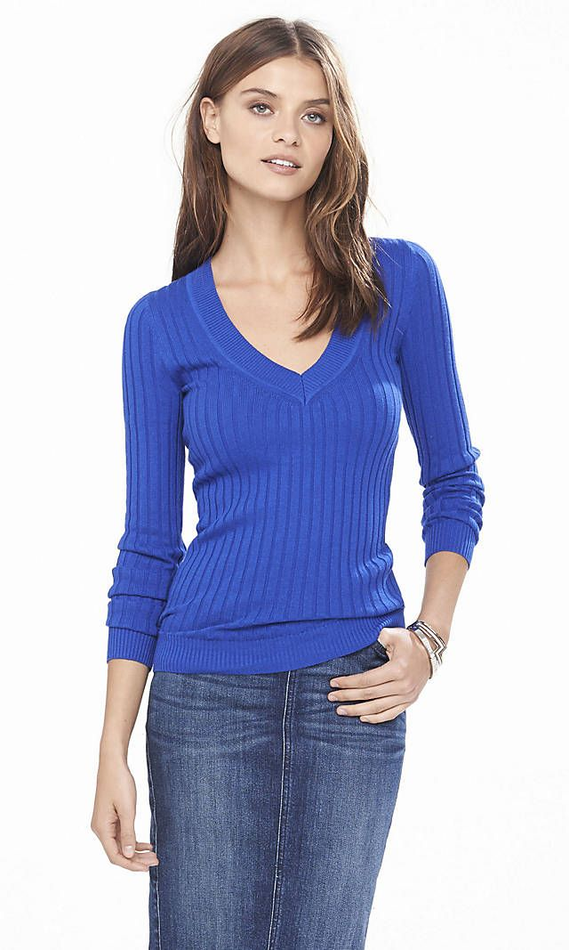 I like all 3 colors it comes in. Ribbed Fitted V-neck Sweater ...