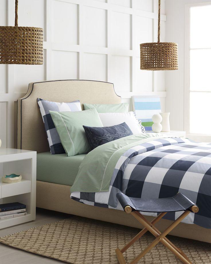 Navy Green Master Bedroom Design Gingham Duvet Cover Via Serena Lily Bedroom Decor Green Master Bedroom Home Decor Bedroom