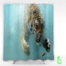 Tiger Dive Underwater Shower Curtain Cheap Shower Curtains
