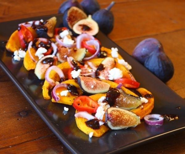 Roasted squash with fresh figs in fig balsamic reduction