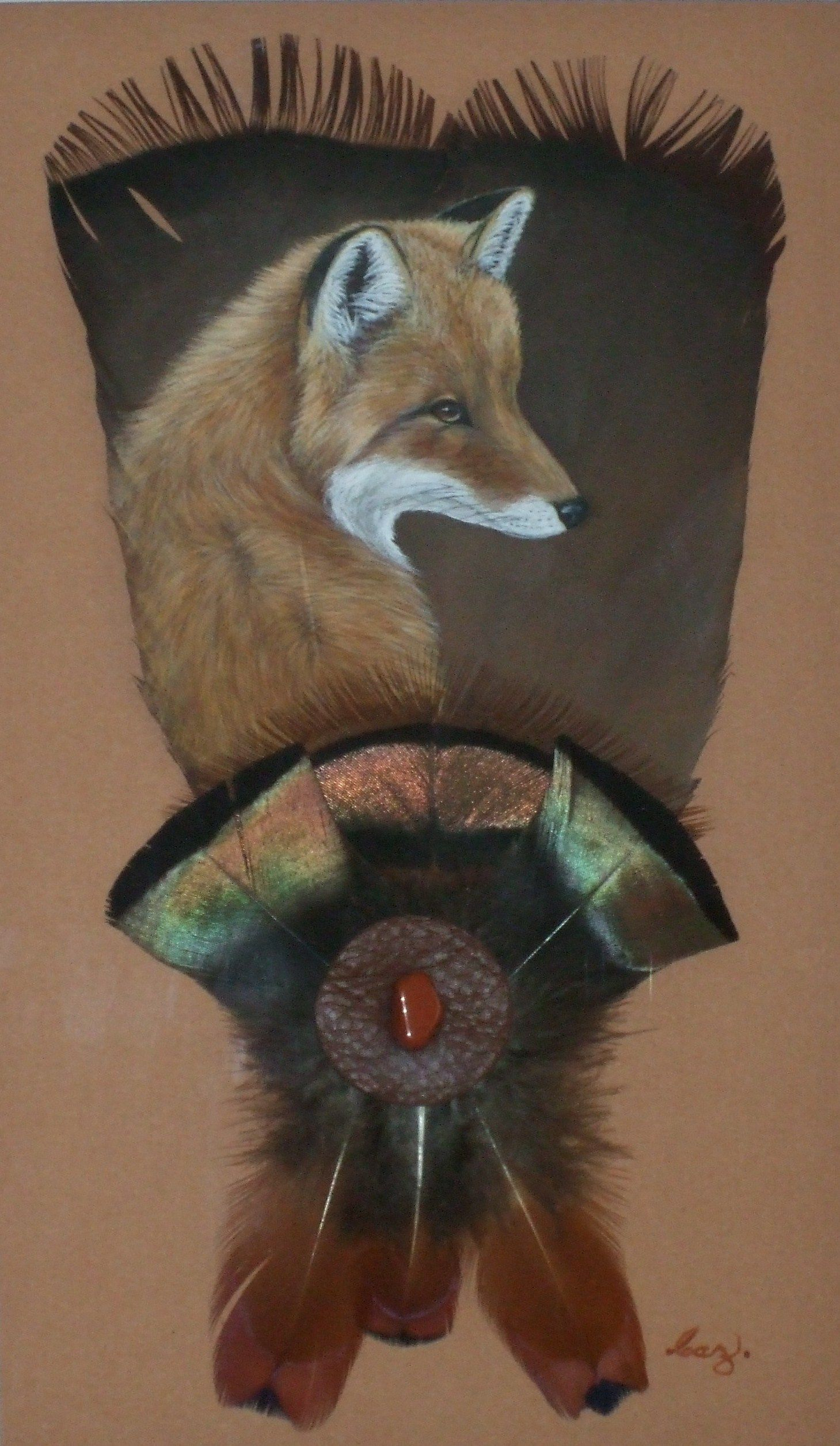 red fox on feathers