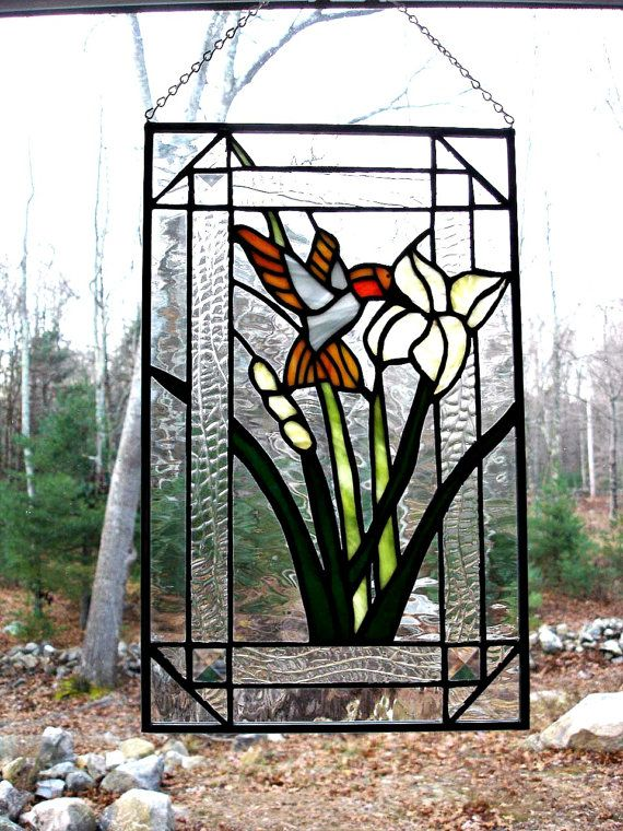 Stained glass hummingbird and lily panel by DesignsStainedGlass, $110.00