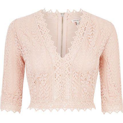 df31e5d732e431 Pink lace plunge crop top £35.00
