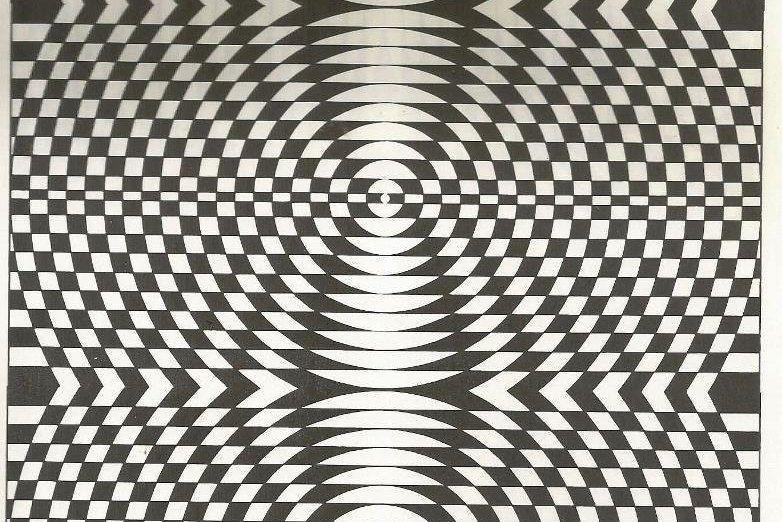 Vintage 70s Trippy Optical Illusion Pattern Crazy Art Print Book
