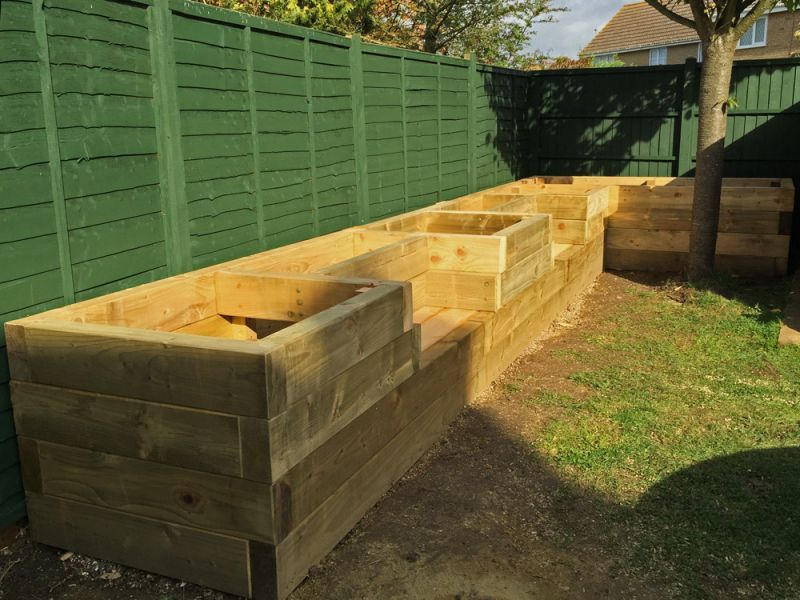 garden ideas les mables raised beds with bench seats from new railway sleepers
