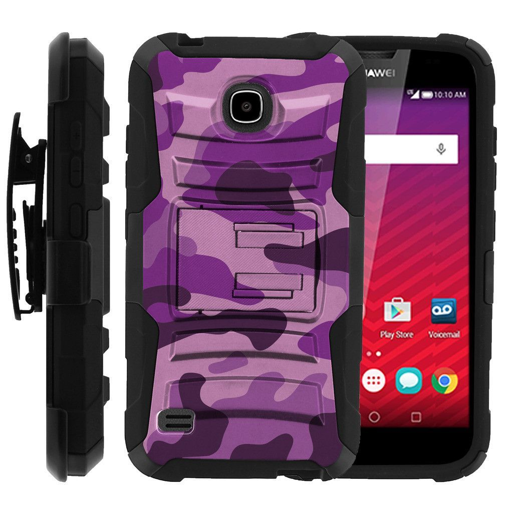 Huawei Union Case CLIP ARMOR, Dual Holster Case with Kickstand- Purple Camouflage