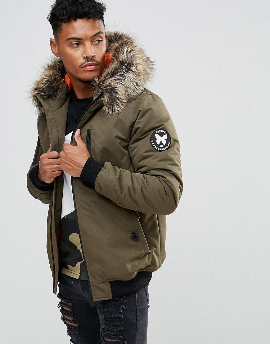 Good For Nothing Bomber Jacket In Khaki With Faux Fur Hood Green Bomber Jacket Jackets Faux Fur Hood [ 1110 x 870 Pixel ]